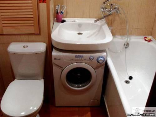 Дизайн маленькой ванной комнаты с туалетом и стиральной машиной
